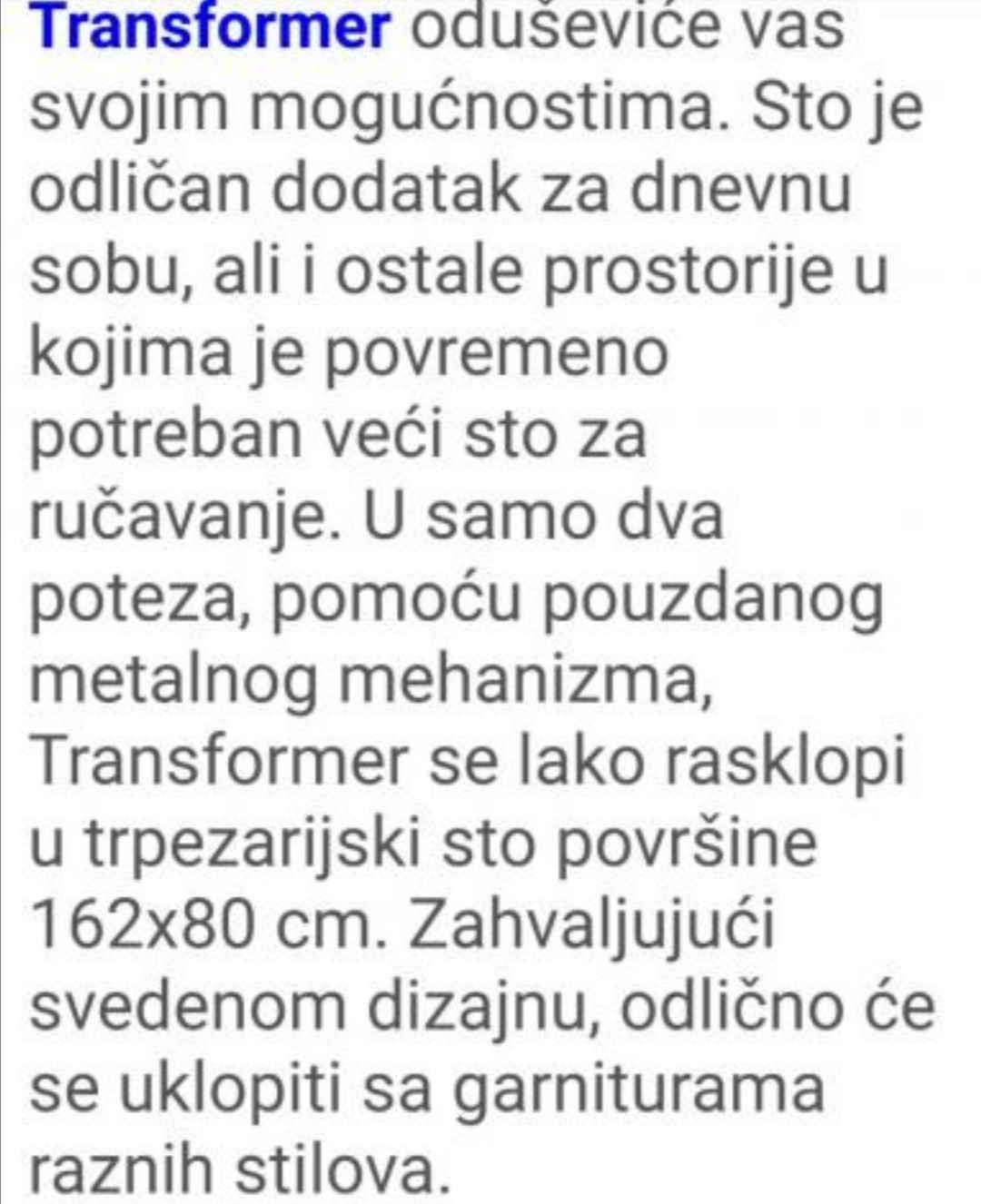 Prodajem sto transformer za male stanove- nov